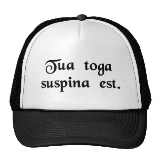 Your toga is backwards. trucker hat