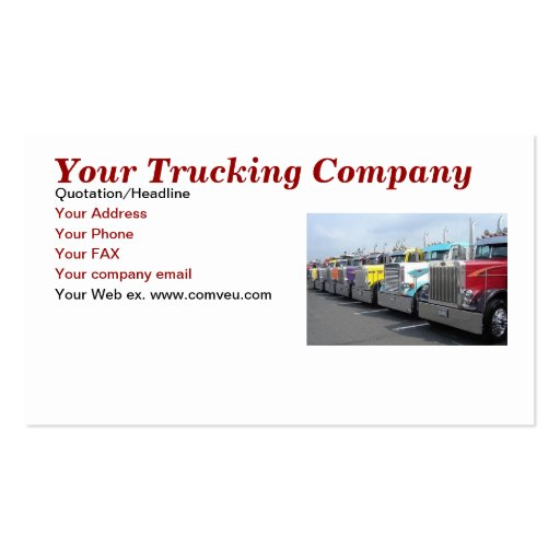 Your trucking company business card zazzle for Trucking business card