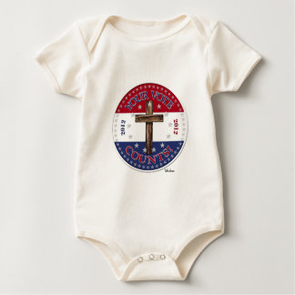 YOUR VOTE COUNTS! 2012 Round with rugged cross Baby Bodysuit
