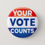 "Your Vote Counts pattern Button<br><div class=""desc"">Red white and blue election design</div>"