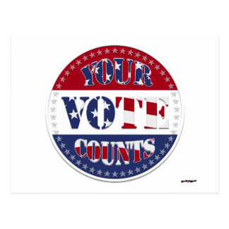 YOUR VOTE COUNTS Round with US Flag & 50 Stars v2 Postcard