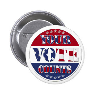 YOUR VOTE COUNTS Round with US Flag & Stars Pinback Buttons