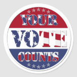YOUR VOTE COUNTS Round with US Flag & Stars Classic Round Sticker