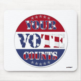 YOUR VOTE COUNTS Round with US Flag & Stars Mouse Pad