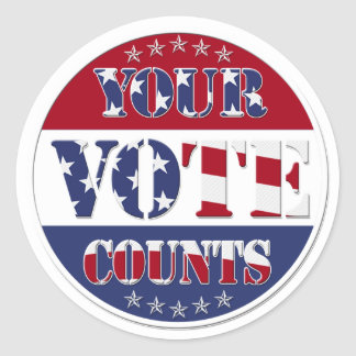 YOUR VOTE COUNTS Round with US Flag & Stars Round Stickers