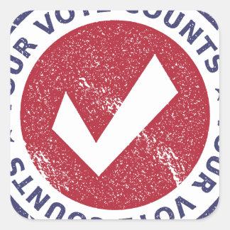 your vote counts square sticker