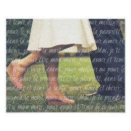 Your Wedding Photo And French Vows Script Poster