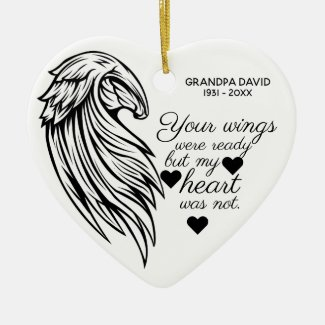 Your Wings Were Ready Personalized Photo Memorial Ceramic Ornament