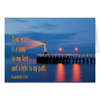 Your Word Is a Light Psalm 119:105 Bible Verse Greeting Cards