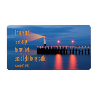 Your Word Is a Light Psalm 119:105 Bible Verse Label