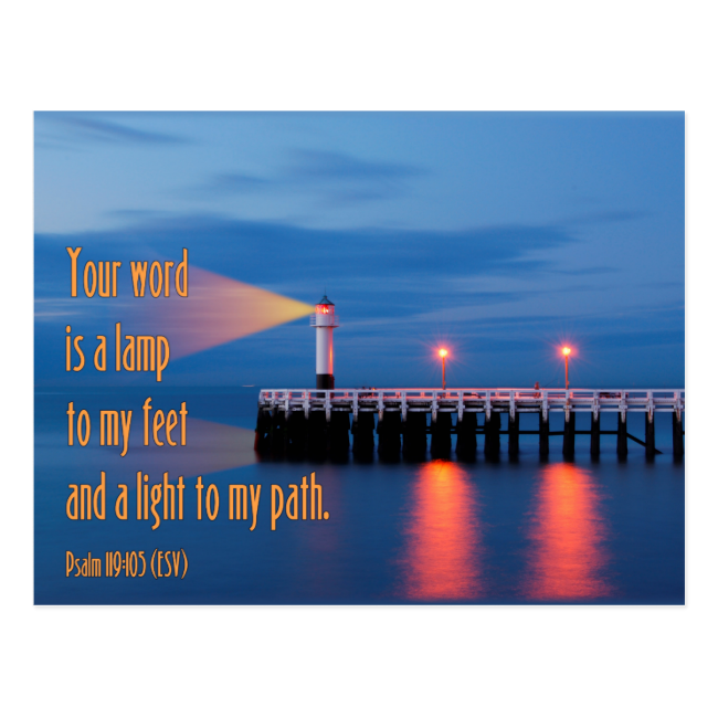 Your Word Is a Light Psalm 119:105 Bible Verse Post Card