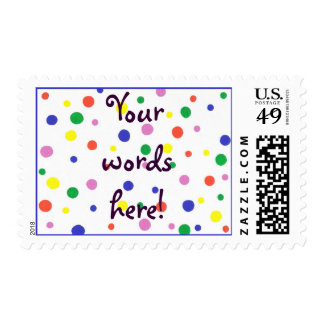 Your Words - Colorful Polka Dots Postage Stamps