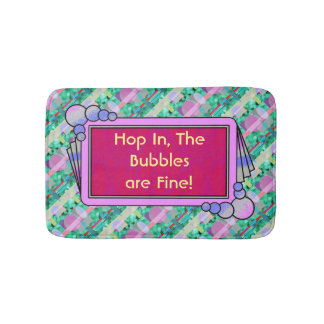 Your words on this fun aqua, red and purple bath mats