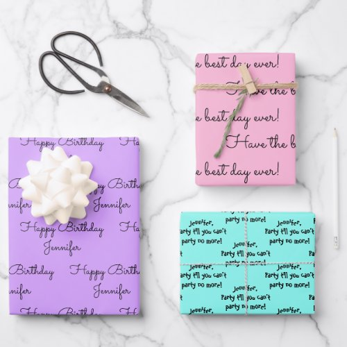 Your Words with Her Name Birthday Gift Wrapping Paper Sheets