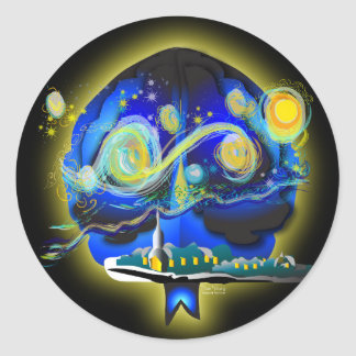 Youra Brain Classic Round Sticker