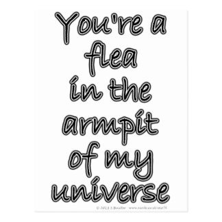 You're a flea in the armpit of my universe postcard