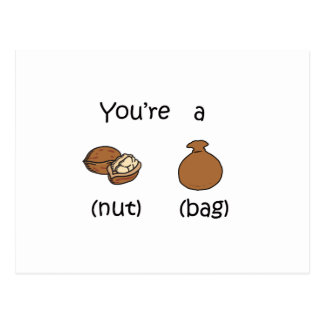 You're A Nut Bag Postcard