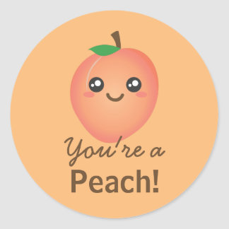 You're a Peach Sweet Kawaii Cute Funny Foodie Classic Round Sticker