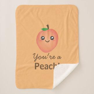 You're a Peach Sweet Kawaii Cute Funny Foodie Sherpa Blanket