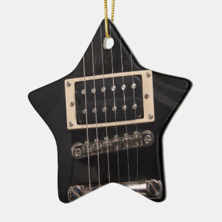You're a Rock Star Black Electric Guitar Strings Double-Sided Star Ceramic Christmas Ornament