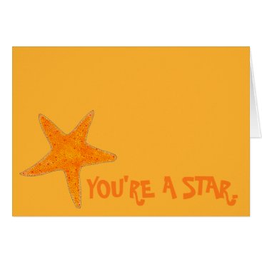Beach Themed You're a Star Orange Starfish Congrats Shell Beach Card