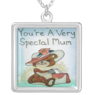 You're A Very Special Mum Square Sterling Silver N Square Pendant Necklace