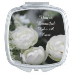You're Beautiful White Rose Compact Mirror(square)
