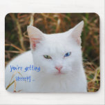 You're getting sleepy, white cat, green & blue eye mouse pad