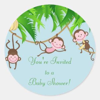 You're Invited Baby Monkeys Baby Shower Sticker