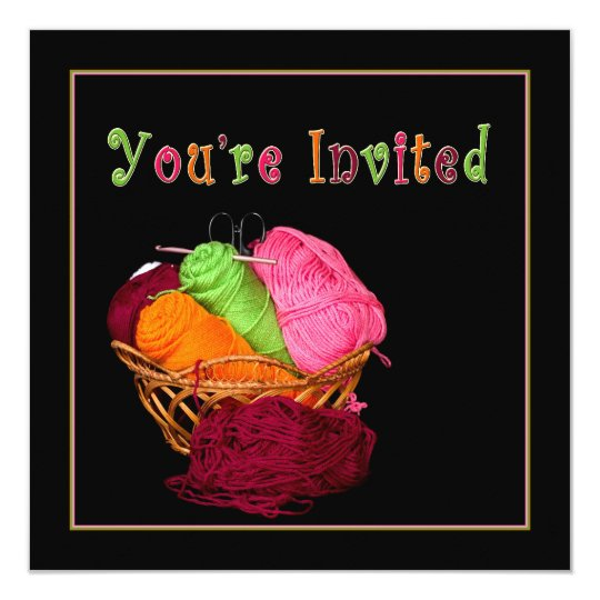 You're Invited - Basket of Yarn Sewing Card
