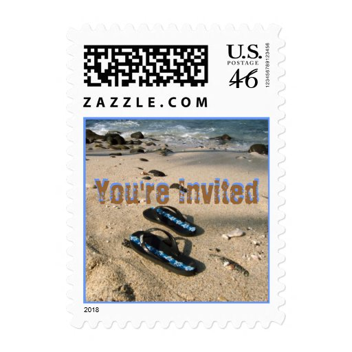 You're Invited Beach Flip Flop Sandals Postage Stamps