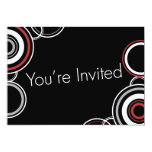 You're Invited - Black & Red Circles 5x7 Paper Invitation Card