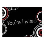 You're Invited - Black & Red Circles Postcard