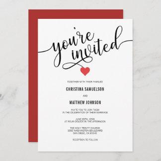 You're Invited Black White Red Valentine Wedding Invitation