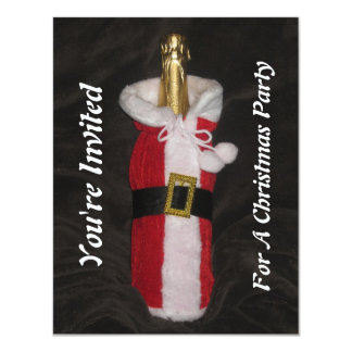 You're Invited Bottle Wine Santa Suit Invitation. Card