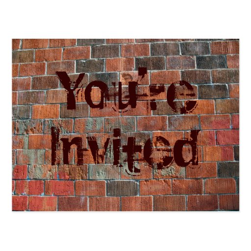 You're Invited brick wall Postcard