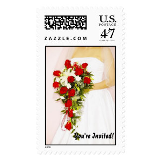 You're Invited! Bride with flowers Postage