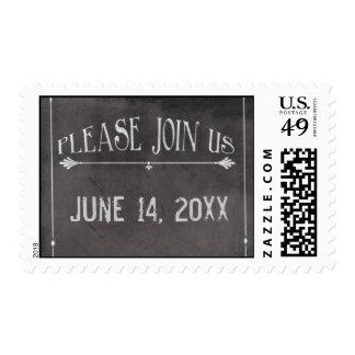 You're invited chalkboard design postage