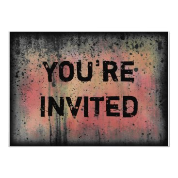 Halloween Themed You're Invited Colorful Grunge Halloween Party Card