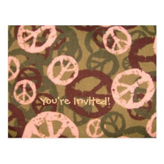 You're Invited!-Cream Peace Signs-Postcards
