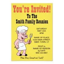 You're Invited Family Reunion Pig Cartoon Invitation