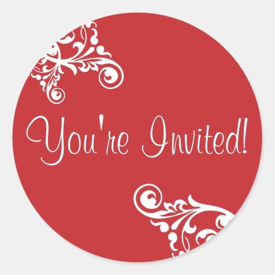 You're Invited Flourish Envelope Sticker Seal