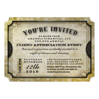You're Invited Gold Antique Ticket General Invite