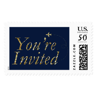 You're invited Gold Glitter TRAVEL STAMP Party