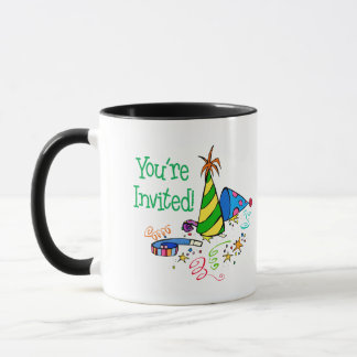 You're Invited! (Green Party Hats) Mug