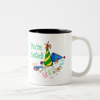 You're Invited! (Green Party Hats) Two-Tone Coffee Mug