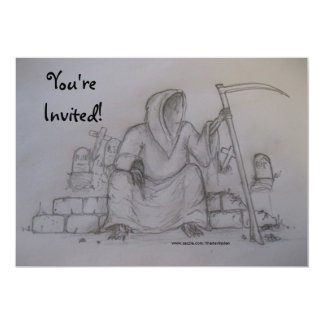 You're Invited Grim Reaper Drawing Invitaton Card