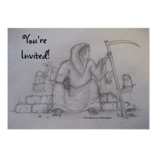 You're Invited Grim Reaper Drawing Invitaton 5x7 Paper Invitation Card