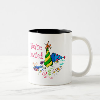 You're Invited (Magenta Party Hats) Two-Tone Coffee Mug