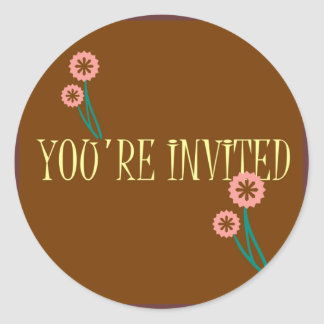 YOU'RE INVITED MATCHING POSTAGE CLASSIC ROUND STICKER